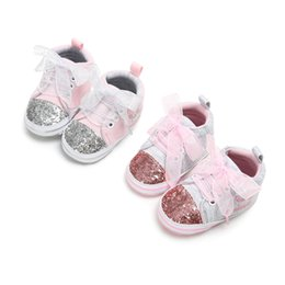 crown for infant Coupons - Baby lace lace-up sneakers 2 Colors for 0-1T Infants sweet crown letters embroidery cloth first walkers cute anti-slip prewalker for girls