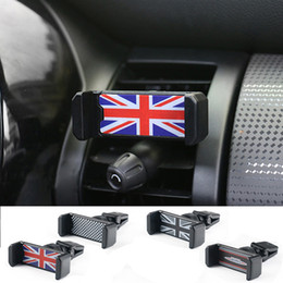 Wholesale Cooper Union - Universal Union Jack Car Phone Holder Air Vent Outlet Mount Cell Phone Holders Bracket For Mini Cooper One JCW S F60 Car-Styling