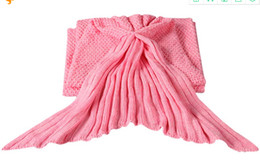 Wholesale Coral Heating - Mermaid Tail Blanket Yarn Knitted Handmade Crochet Mermaid Blanket Kids Throw Bed Wrap Super Soft Sleeping Bed