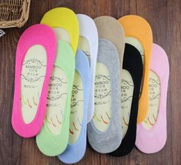 Wholesale Pic Gold - Free Shipping Fashion Women Summer 5 pic lot Sock Slippers Thin Shallow Solid Color ladies Invisible Bamboo Fiber Boat Socks S19