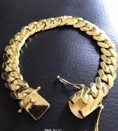 Bracelet homme large en or en Ligne-Bracelet à maillons Miami cubain pour homme en or 14k rempli de 10 mm de large