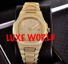 Wholesale Mens Automatic Watch Diamond Sapphire - MENS HIGH QUALITY FULLY ICED OUT DIAMOND LUXURY MENS WATCH AUTOMATIC STAINLESS STEEL MULTICOLOR AVAILABLE