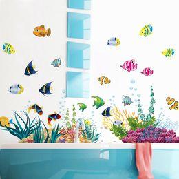 Wholesale Bathroom Cartoon Tiles - Colorful Underwater World Fishes Cartoon Wall Sticker for Nursery Kids Room Decor DIY Bathroom Mural
