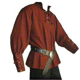 ropa renacentista Rebajas Europeo Medieval Hombres Moda Estilo Vintage Renacimiento Stand Collar Camisa de lino suelta Hombre Casual Prince Servant Drama ropa