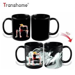 Canecas de mudança de calor on-line-Transhome Luffy Mudança de Cor / Mudança de Porcelana Caneca Caneca Sensível Ao Calor Caneca De Cerâmica Para O Chá De Café Leite Presente Do Feriado