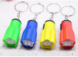 Wholesale Bright Keychains - Colorful Flower Shape Portable Cute Bright LED Flashlight Key Chain Mini KeyChain Torch Flashlights Plum Ring Mixed Colors for Hiking