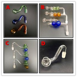 verschiedene typen rauchen pfeifen Rabatt 10cm Gebogene Glasölbrenner Pot Glas Bong Wasserpfeifen mit verschiedenen Arten Glas Balancer