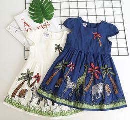 Wholesale American Girl Zebra Dress - Summer New Children embroidered dress elephant zebra coconut tree Appliqued dress for Girls Kids cotton short sleeve pleated dress A00210