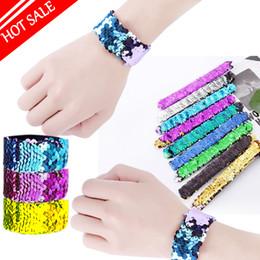 Fille Slap Bracelets Sirène Sequin Bracelet Double Couleurs Glitter Slap Bracelet Enfants Fête Favorise 21 Modèles En Option 2018 chaud ? partir de fabricateur