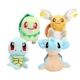Wholesale lapras plush - Hot ! New 4pcs Lot Lapras Chikorita Squirtle Raichu Pikachu Plush Doll Stuffed Toys For Child Best Gifts 13-15cm