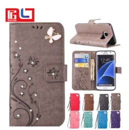 Wholesale Shockproof Flip Phone - Luxury Bling Diamond Embossed Painted Pattern Flip PU Leather Cover Holster Card Holder Stand Wallet with Lanyared Shockproof Mobile Phone B