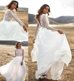 Wholesale Lace Long Sleeve Weding Dress - 2016 Long Sleeves Appliques White Bohemian Lace Wedding Dresses Sexy BackLess A-Line Sheer Neck Boho Weding Bridal Gowns
