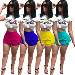 Wholesale yoga outfit wholesalers - Unicorn Dream Letter Women Summer Shorts T-shirts Sports Suits Animal Print Tees Tops Ruffle Short Pants 2 Piece Sets Trendy Sexy Outfits