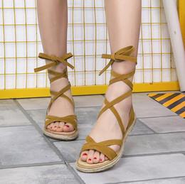 sandalias de plataforma plana de punta abierta Rebajas 2018 New Summer Flat Women Sandal Sandalias de gladiador de punta abierta Mujeres Casual Lace Up Mujer Sandalias de plataforma