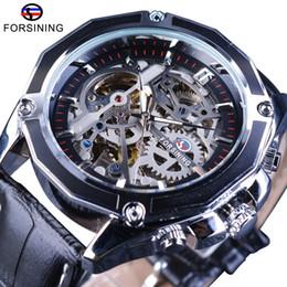 f8ad825aa12 relógio de engrenagem de esqueleto Desconto Engrenagem Forsining Movimento  Transparente Steampunk Relógio de Pulso Genuine Belt