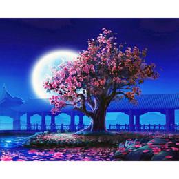 Pittura a fiore incorniciata online-No Frame Peach Blossom Fai da te Pittura By Numbers Landscape Vintage Wall Painting Pittura acrilica su tela per soggiorno