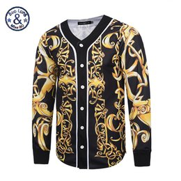 Wholesale Baroque Prints - 2017 Mr.BaoLong&Miss.GO New Design Baroque Style Men baseball jersey Hip Hop versa 3D Print Gold Flower Men's Outwear Cardigan