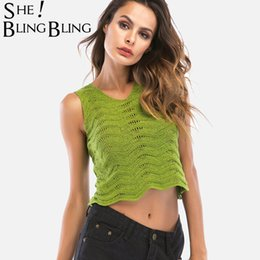 Wholesale Chevron L - SheBlingBling Women Knit Tank Tops Summer Sleeveless Chevron Textured Scallop Edge Crop Tops Fashion Hole Detail Size M-XL