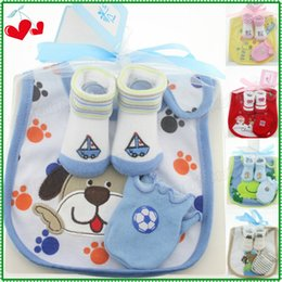 Wholesale Baby Mittens Scratch - High Quality Cotton Infant Products 3 Pcs Set =Cartoon Baby Bib Slobber Towel+Newborn Anti Scratch Mittens+Sockings & Hosiery