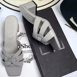 Wholesale open office lighting - A18 2018 New fashion summer shoes Women slippers glitter Leather sandals women Thick heels 6cm sandals with box