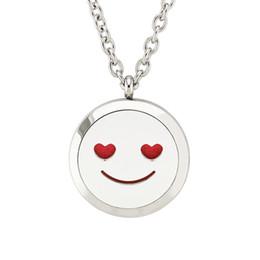 Emoção feliz Smiley Face Colar Perfume 25/30mm Aço Inoxidável Magnético 316 Difusor de Óleo Essencial Medalhões Colar Pingente Livre 10 Almofadas cheap smiley pad de Fornecedores de almofada de smiley