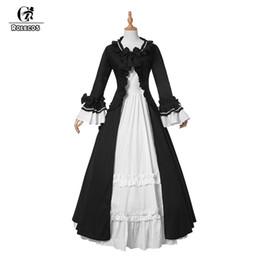 ROLECOS новый черный белый длинные женщины платье хлопок готический старинные викторианские костюмы Лолита Принцесса платья от