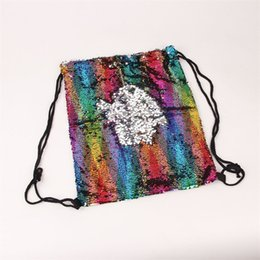 bolsa de novedad diseñadores Rebajas Rainbow Color Kids Mochila Sirena Diseñador de lentejuelas Novedad School Bag Childs Favor de alta capacidad Práctico Bolsas de dos colores 22js ZZ