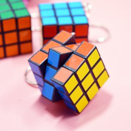 Wholesale Cube Holder - Creative Mini Square Keychain 3x3x3cm Magic Cube Puzzles Keyring Pendant Entertainment Learning Key Buckle Toy 0 6ch Y