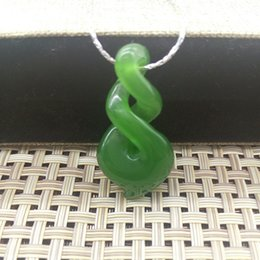 Wholesale Maori Pendants - 3 styles Green Nephrite Two Times Twist Nephrite New Zealand Maori Style Symbol Of Protection Green Pendant