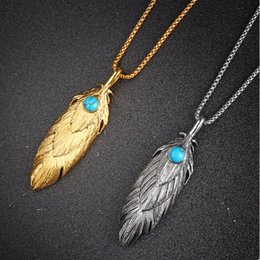 Wholesale turquoise pendant necklace men - Men Feather Pendant Necklaces Stainless Steel Jewelry Gold Silver Color Chain Punk Fashion Best Friend Necklace For Men Gift