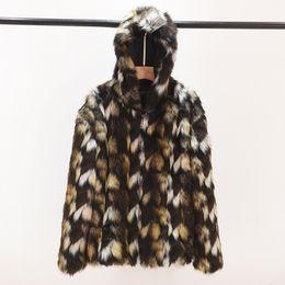 Wholesale Jackets Hoods For Men - Plus Size Faux Fur Coats For Men 5XL 6XL 2017 Winter Warm Outerwear Long Sleeve Colorful Fake Fox Fur Jacket With Hood XL682