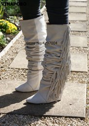 875162fcd351 Women Knee High Suede Fringe Boots Black White Gray Platform Wedged Long  Boots New Brand Fashion Women Motorcycle Tassel