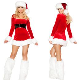 reizvolles weihnachtskostüm lange hülse Rabatt Halloween Weihnachtstag Kostüm Bühne Rot Langarm Kleid Langes Haar Weihnachtsfest Kleid Sexy Rock