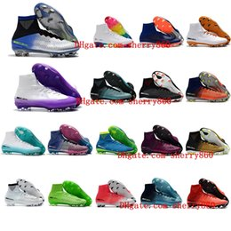 Wholesale Cristiano Ronaldo Boots - Football Boots Mercurial CR7 Superfly V SX Neymar FG New Soccer Shoes High Top Mens Soccer Cleats Cristiano Ronaldo 2018 Cheap Sale