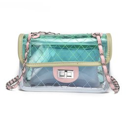 Wholesale blue hard candy - Women Bag Fashion Female Handbag High Quality Transparent Shoulder Bag Clear PVC Jelly Chain Candy Crossbody Bag Sac a main