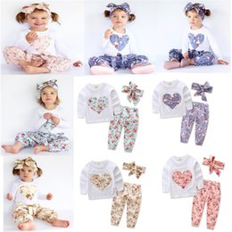 Wholesale Girls Summer Heart T Shirt - Baby girl INS heart-shaped flower Suits Kids Toddler Infant Casual Short long sleeve T-shirt +trousers+Hair band 3pcs sets pajamas clothes B