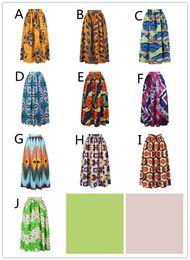Wholesale Pleated Maxi Skirts - 2018 10 colors African Women Boho Dashiki Dresses Cocktail Clubwear high waist Pleated Skirt National characteristic Maxi Dress