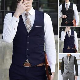 Wholesale Mens Business Vest - Mens Formal Business Casual Dress Vest Suit Slim Fit Tuxedo Waistcoat Coat M-3XL