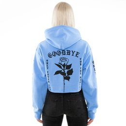21639418e7c Women Cropped Hoodies Top Autumn Winter Gothic Letter Rose Print Short Hoodie  Loose Hooded Sweatshirt Pullover