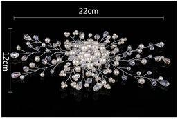 2019 corona india de cristal Venta caliente de nuevos adornos de la cabeza de la novia de la perla de la mano. Cabello coreano de la novia Los accesorios para el cabello de la novia, de color blanco.