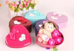 Wholesale Display Dolls - Soap Flower Bear Doll Heart Tin Box For Romantic Valentine Day Gift Home Decoration Arts And Crafts
