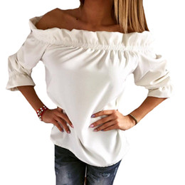8cb1a79fc6da New Fashion Women Blouse Puff Sleeve Slash Neck Strapless Off Shoulder  Shirts Ruffles Feminine Blouses Ladies Tops