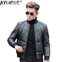 2019 giacca di cuoio genuino dell uomo AYUNSUE 2018 Giacca di pelle genuina  degli uomini 8a20bfe8874