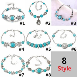 Wholesale Turquoise Butterfly Jewelry - Bohemian Jewelry Natural Beads Bracelet Elephant Butterfly Peace Multi Style Turquoise Handmade Present Beades Bracelet D0213