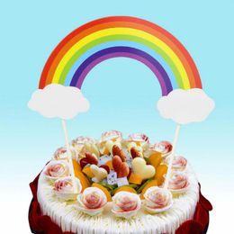Chapéus de coco da mesa de aniversário on-line-Suprimentos Party Decor bandeira da festa de aniversário mesa de sobremesa 50sets do arco-íris bolo Cupcake Topper Nuvem Inserir miúdos felizes aniversário