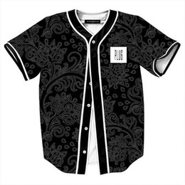 Трикотажные рубашки china онлайн-Summer style Black Shirts for Men Retro China Flowers Print Baseball Jersey Male Casual V-Neck Camisetas Masculinas Estampas