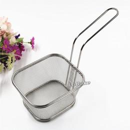 Wholesale Kitchen Steel Basket - Big size long handle 12.5*10cm stainless steel metal frying chicken legs dumplings basket oil sifter kitchen drain baskets