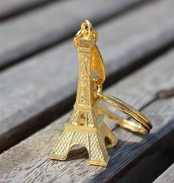 Wholesale Eiffel Tower Decorations Wedding - Wholesale- 30pcs gold Paris Eiffel Tower Keychains Bronzed Metal Keyring rustic wedding decor wedding accessories decoration mariage