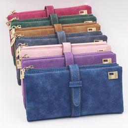 Wholesale Leather Drawstring Purse - Fashion Women Wallets Drawstring Nubuck Leather Zipper Wallet Women's Long Design Purse Card Holder Clutch Wallet KKA4232
