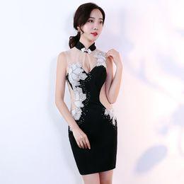 a28e3ee3821d Diamanti Voile 2018 delle nuove donne elegante abito corto abito da ballo  per la cerimonia della festa di gala con abiti da cerimonia per celebrare  la ...